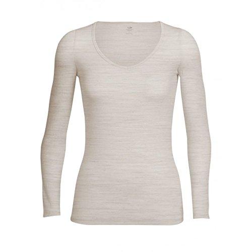 Icebreaker Damen T-Shirt Langarm Siren Herz XL Fawn Hthr