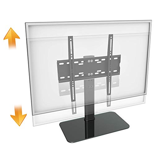 RICOO TV Ständer FS304-B für 30-55 Zoll (ca. 76-140cm) mit Kabelmanagement Universal Fernseh Halterung Stand Fernseher Fernsehständer Flachbildschirme | VESA 200x100 400x400 Schwarz Glas Hochglanz (Tv-ständer Für Flachbildschirme 55)