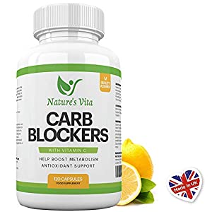 41PoG1Kv dL. SS300  - Nature's Vita Carb Blocker Complex | Natural Weight Loss Support, Appetite Suppressant, Fat Breakdown & Immune Boost | White Kidney Bean, Guarana & Vitamin C Supplement | 120 Fat Burner Capsules