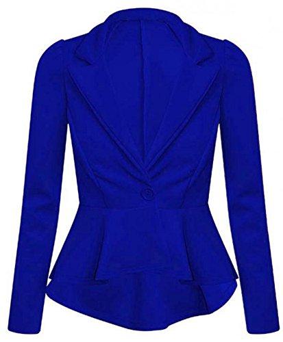 New Ladies Womens Plus Size Office Casual Wear Slim Fit Frill Peplum Blazer Jacket Top Size 8-24 (UK 20, Royal Blue)