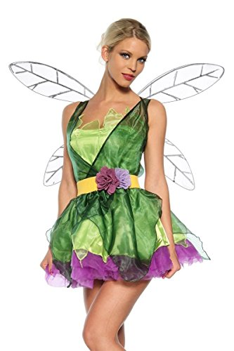 Lila Kostüme Feen (Kleid, Flügel, Gürtel, String Feen Kostüm grün/lila, Größe)