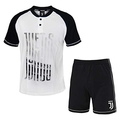 PLANETEX Pigiama Homewear Uomo Juventus Prodotto Ufficiale Cotone Art.14076 (Bianco - S / 46)