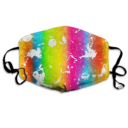 Masken,Masken für Erwachsene,Rainbow Texture with White Drops Washable and Reusable Cleaning Mask,For Allergens,Exhaust Gas,Running,Cycling,Outdoor Activities