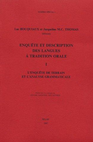 Enquête et description des langues à tradition orale
