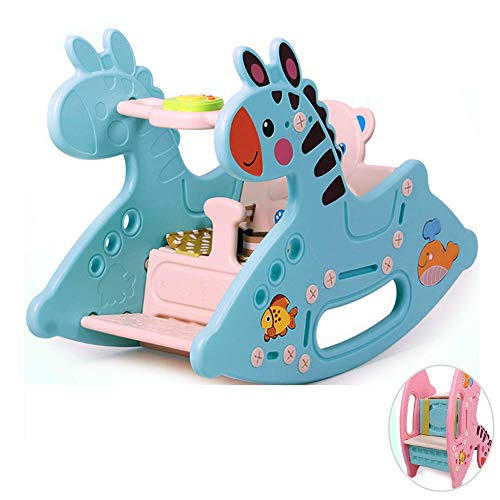 ZLMI Baby Schaukelstuhl, Schaukelpferd Kunststoff Tier Rocker Kleinkind Fahrt auf weich gepolsterten Sitz mit Rückenlehne 18 Monate bis 3 Jahre alt Baby Spielzeug Geschenk,Blue - Gepolstert 3-sitz