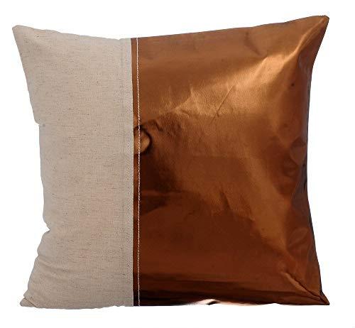Entwerfer Kupfer sofakissenbezüge, Metallisches Leder Bettwäsche aus Baumwolle kissenhülle, 35x35 inch kissenbezüge, Platz Kunstleder kissenbezüge, Solide Modern kissenbezug - Better Half Copper
