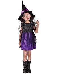 Preisvergleich für Hirolan Halloween Kleider Kleinkind Kinder Baby Mädchen Cosplay Kleidung Kostüm Kleid Party Kleid Rock + Hut Zwei...