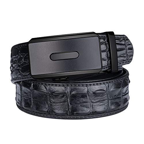 POHBG Gürtel Echtledergürtel Für Männer Casual Jeans Gurtband Gold Automatische Schnalle Schwarzer Gürtel 07-FA 125 cm -