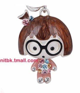 keychain keyring new Schlüsselhalter Nerd Mädchen braune Haare große Brille rosa