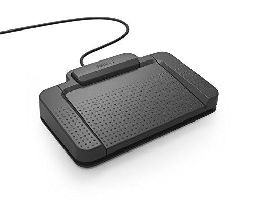 Philips ACC2310 Fußschalter, Fußpedal für digitale Diktiersysteme von Philips, 3 Pedale, indiv. konfigurierbar, rutschfest, robust, besonders ergonomisch, anthrazit