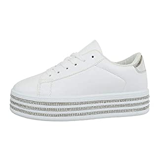 Ital-Design Damenschuhe Freizeitschuhe Sneakers Low Synthetik Weiß Silber Gr. 38