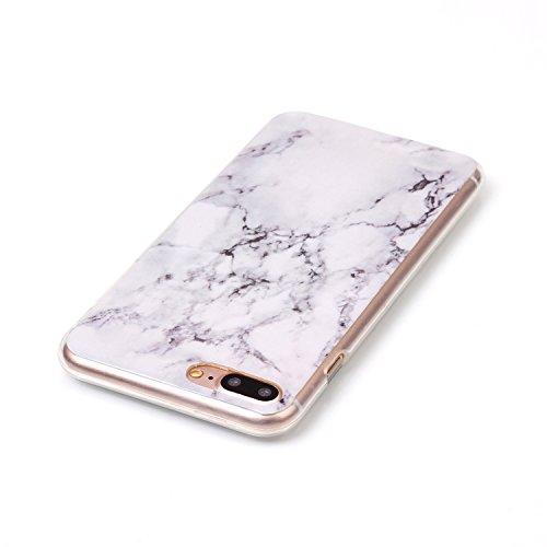 Coque Housse pour iPhone 7 Plus/8 Plus, iPhone 8 Plus Coque Silicone Etui Housse, iPhone 7 Plus Souple Coque Etui en Silicone, iPhone 7 Plus Silicone Transparent Case TPU Cover, Ukayfe Etui de Protect Marbling
