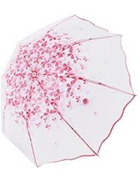 Portable Floral Clear Pink Triple plegable paraguas lluvia al aire libre para mujeres niñas (rosa