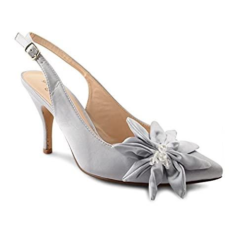 New Sexy Ladies Stiletto High Heel Beaded Satin Bow Slingback Sandals Size 3-8