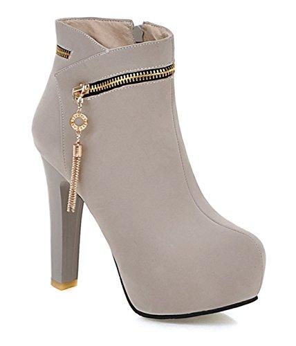 a9988516c1efb4 YE Damen High Heels Plateau Stiefeletten Wildleder mit 12cm Absatz  Reißverschluss Blockabsatz Heels Ankle Boots Schuhe Beige