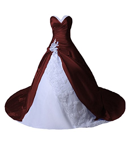 O.D.W Damen Spitze Lange Gotisch Hochzeitskleider Mehrfarbig Vintage Brautkleider(Weisse+Burgund,...