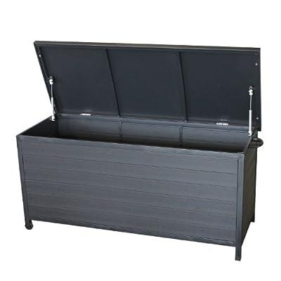 Garten Auflagenbox Kissenbox Kissentruhe Gartenbox für Stuhlauflagen Spielzeug Möbel etc. rollbar Polywood Metall 133x54,5x63,5cm inkl. Hubautomatik