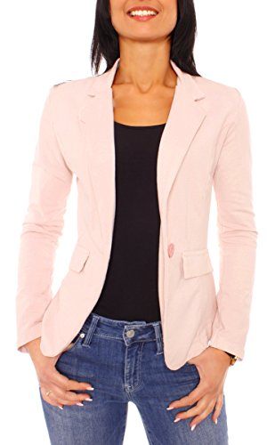 Damen Sommer Sweat Jersey Blazer Jacke Sweatblazer Jerseyblazer Sakko Kurz Ungefüttert Langarm Uni Einfarbig Hellrosa L - 40 (XL)