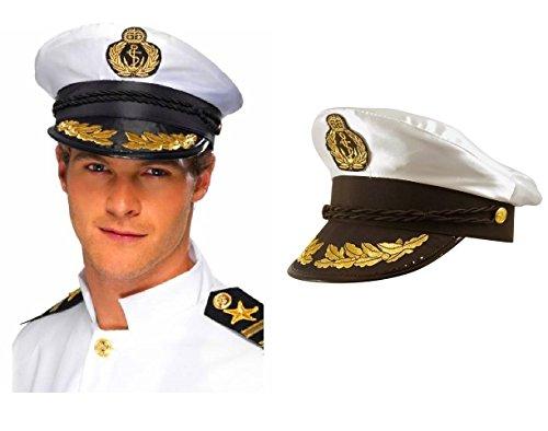 Lizzy ADULT CAPTAIN HAT SATIN Yacht Boat Navy Sailor Sea Marine Fancy Dress Costume