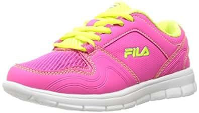 Fila Girls' Speed Runner Skate Shoe, Pink Glo/Safety Yellow/Metallic Silver, 2. 5 M US Little Kid
