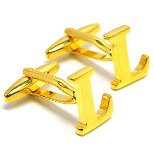 MESE London Buchstabe Name L Initiale Manschettenknöpfe 18 Karat Vergoldet in Luxus ()