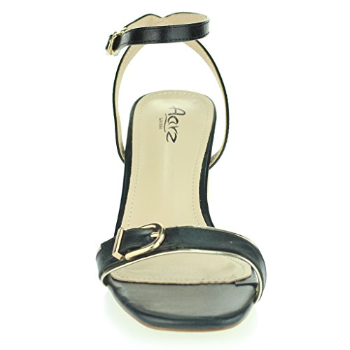 Femmes Dames Deux Parties Sangle de Cheville Orteil Ouvert Diamante Talon Haut Soir Casual Fête Mariage Bal de Promo Des Sandales Chaussures Taille Noir