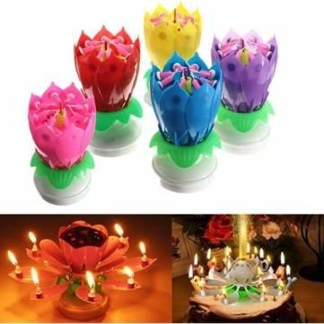 belle fleur de lotus musicale rotation heureux bougies cadeaux de fête d'anniversaire