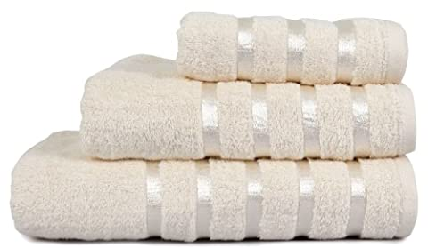 100% Pure Cotton Luxury Savoy Stripe Cream Bath Towel - 550gsm, 70x125cms