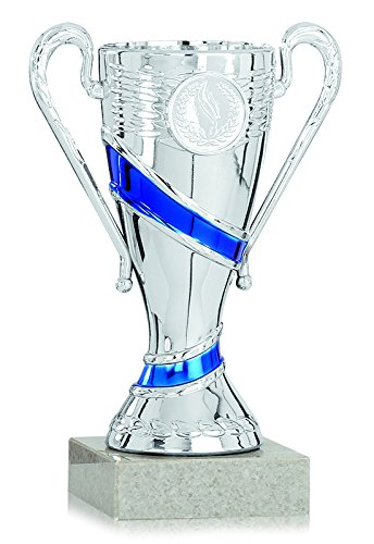 S.B.J - Sportland Pokal Silber/blau aus Kunststoff mit Marmorsockel