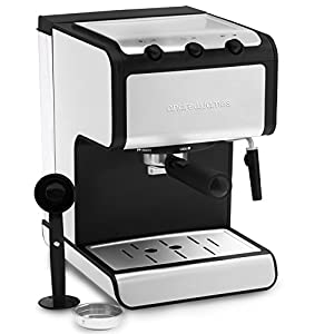 Andrew James Barista Coffee and Espresso Machine with Cup Warmer and Dual Layer Stainless Steel - Milk with Detachable Nozzle - Removable 1.4L Water Tank - 800W