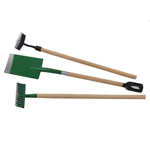 Sharplace 1: 12 Puppenhaus Miniatur Gartengeräte - 2* Schaufel Hacke +1* Harke - Möbel für Puppenhaus Gartenlandschaft Modell (Miniatur-schaufel)