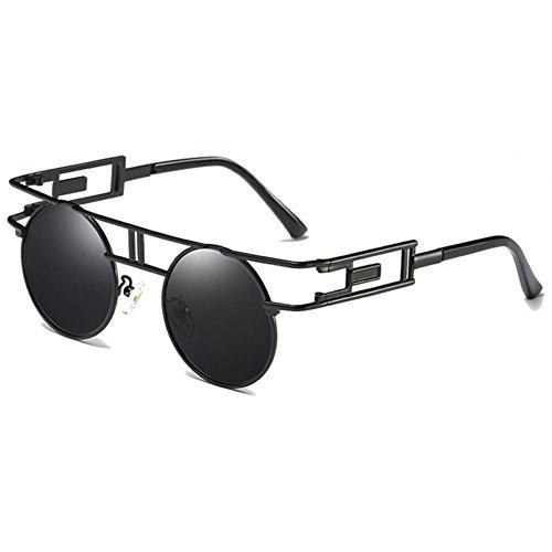 Hibote Unisex Runde Polarisierte Sonnenbrille - Damen Herren Brille Gothic Gläser Steampunk Spiegel