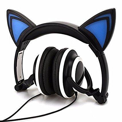 Mp4-player Samsung Flash-video (Wired Kopfhörer Over-Ear faltbar Katze Ohr Ohrhörer mit LED Licht für Mädchen, Kinder. Kompatibel für MP3MP4Player, iPhone 6S, Android Handy.)
