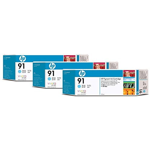 HP DesignJet Z 6100 PS 60 Inch - Original HP / C9486A / Nr. 91 Tinte Light Cyan (3 Stück) - 3 x 775 ml -