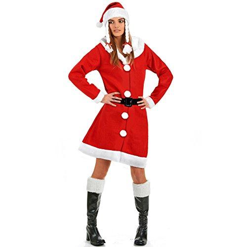 Bakaji Vestito Babbo Natale Donna Costume Travestimento Natalizio Colore Rosso Cappello Con Trecce