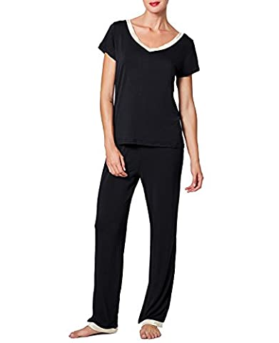 CLOCOLOR Pyjama Femme Fille Chemise de Nuit en Coton de Long Manches de Taille Grande Vêtements De Nuit 2 Pièce Tops et Pantalon Douce et Confortable Noir XL