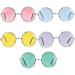 vientiane 5 Pares de Gafas de Sol Hippie Redondas, Gafas de Novedad Para Fiestas Especificaciones y Tonos Para Accesorios de Disfraces