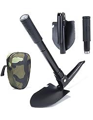 ZeWoo multifuncional Pala plegable, acero Mini Pala con brújula, abrebotellas y Carry Pouch para senderismo, acampada, jardinería, Supervivencia, Pesca, mochila Viajes (17× 11.5cm)