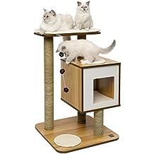"""Vesper Katzenmöbel """"Base"""" walnut - Kubus-Höhle mit einer Plattform"""