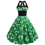 Vibrant St. Patricks Day Damen Kostüm Kleid Lucky Shamrock Rainbow Gedruckt Reizloses Kleid Schwarzes Spitzen Patchwork Kleid