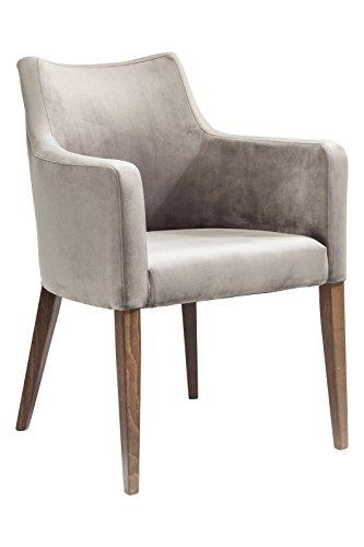 KARE Design Armlehnstuhl Mode Velvet Grey 82470, Stuhl mit Samt Bezug, Polsterstuhl Grau, Füße Buche Massiv, Nussbaum Lackiert (Tisch Nussbaum Stoff Aus)