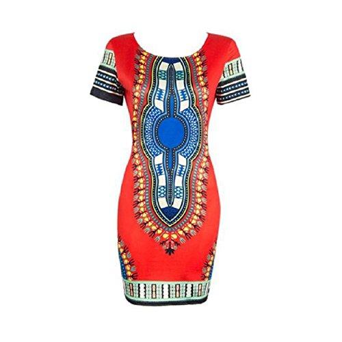 Culater mujeres del vestido tradicional de impresión de manga corta dashiki africana con el cuerpo (M,