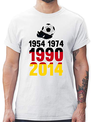 Fußball-Europameisterschaft 2020-1954, 1974, 1990, 2014 - WM 2018 Weltmeister Deutschland - XXL - Weiß - L190 - Tshirt Herren und Männer T-Shirts