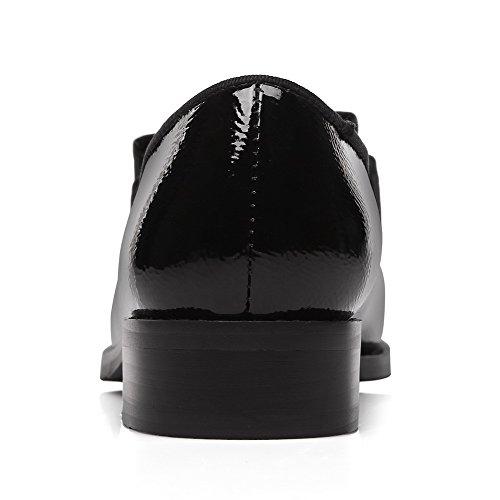 AgooLar Damen Niedriger Absatz Rein Ziehen Auf Lackleder Spitz Zehe Pumps Schuhe Schwarz