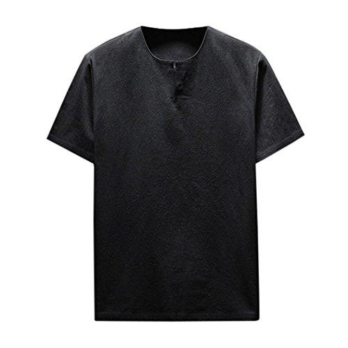 ASHOP Herren Sommer Kurzarm Bequeme Leinen Soft Solid Bluse T-Shirt Top (XXL, Schwarz)
