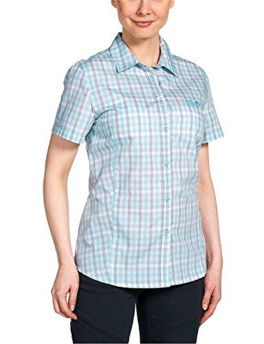 Check Baumwoll-bluse (Jack Wolfskin Damen Bluse River Shirt Women, Aquatic Blue Checks, S, 1400991-7586002)