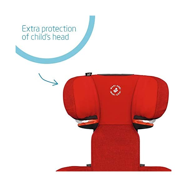 Maxi-Cosi RodiFix AirProtect Child Car Seat, ISOFIX Booster Seat, Extra Protection, 3.5-12 Years, 15-36 kg, Nomad Red Maxi-Cosi Outstanding side impact protection - with the combination of patented air protect technology Patented air protect technology in headrest - the risk of head and neck injuries are reduced up to 20% Quick and easy to buckle your child up with the 'easy-glide' system and clear belt routing 3