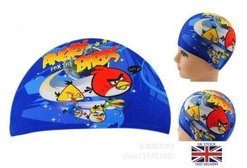 Image of Cartoon Kids Fabric Swimming Hat Swim Cap 2-10 years Angry Birds Blue