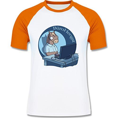 Statement Shirts - BüroHengst - zweifarbiges Baseballshirt für Männer Weiß/Orange
