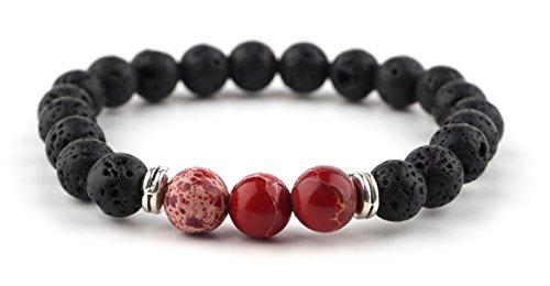 GOOD.designs Energiearmband aus Lavastein Naturperlen, Chakra Armband mit marmorierten Perlen in verschiedenen Farben (Lava_Rot)